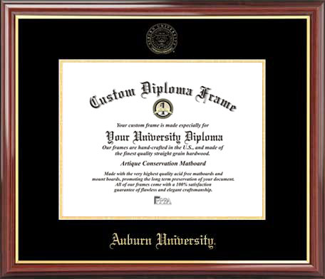 College - Auburn University Tigers - Embossed Seal - Mahogany Gold Trim - Diploma Frame