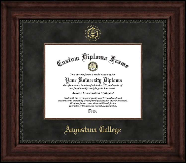 College - Augustana College (SD) Vikings - Embossed Seal - Suede Mat - Mahogany - Diploma Frame