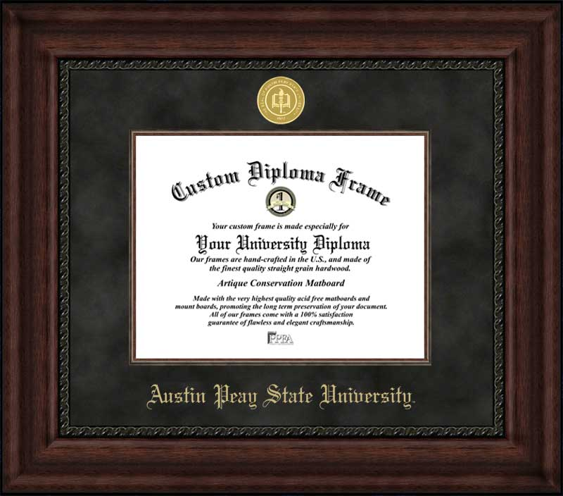 College - Austin Peay State University Governors - Gold Medallion - Suede Mat - Mahogany - Diploma Frame