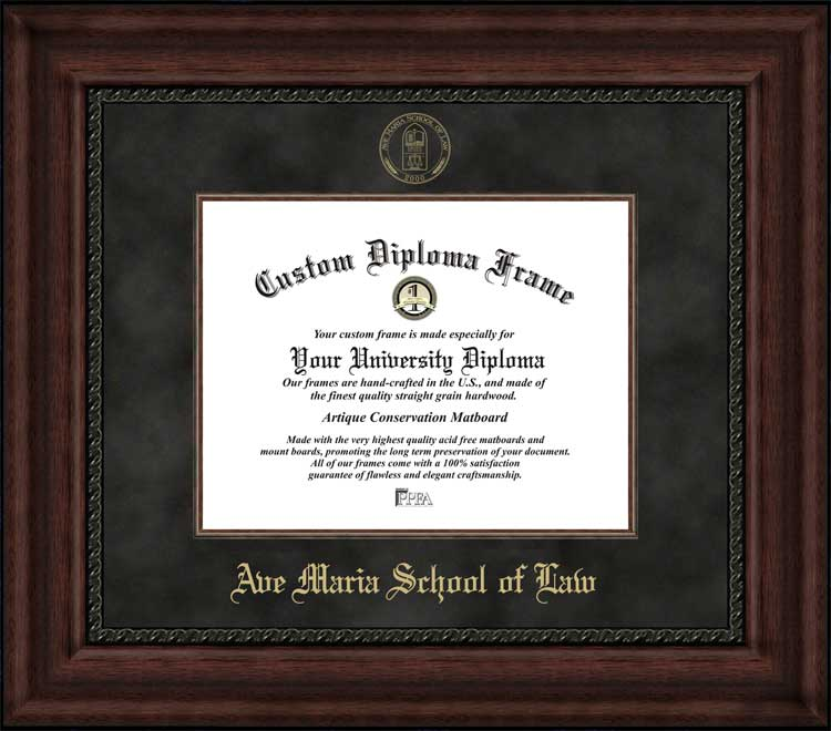 College - Ave Maria School of Law  - Embossed Seal - Suede Mat - Mahogany - Diploma Frame