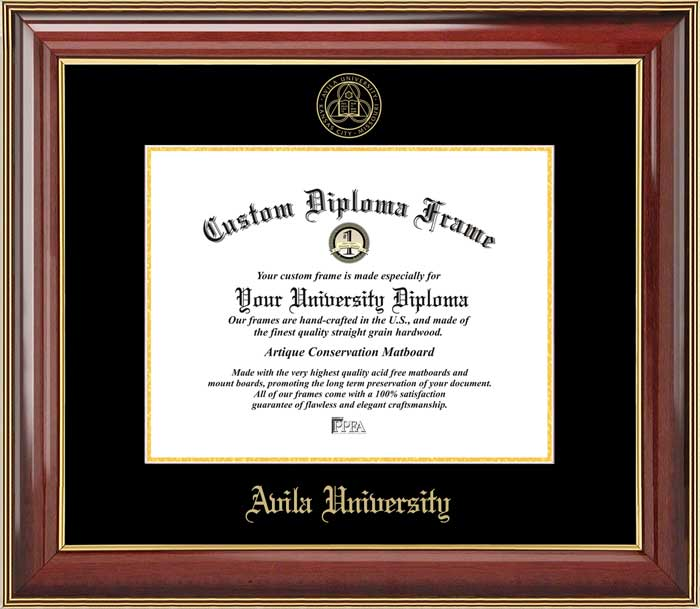 College - Avila University Eagles - Embossed Seal - Mahogany Gold Trim - Diploma Frame