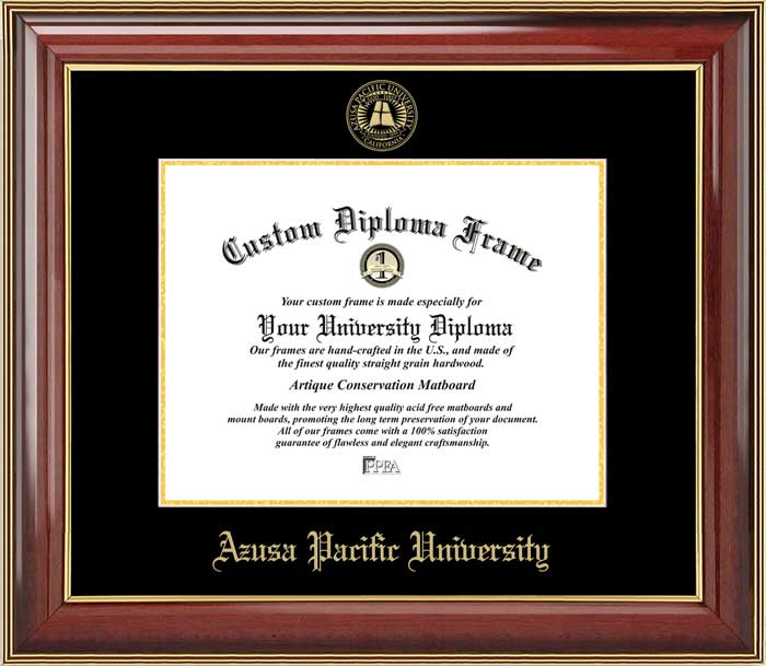 College - Azusa Pacific University Cougars - Embossed Seal - Mahogany Gold Trim - Diploma Frame
