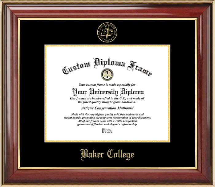 College - Baker College  - Embossed Seal - Mahogany Gold Trim - Diploma Frame