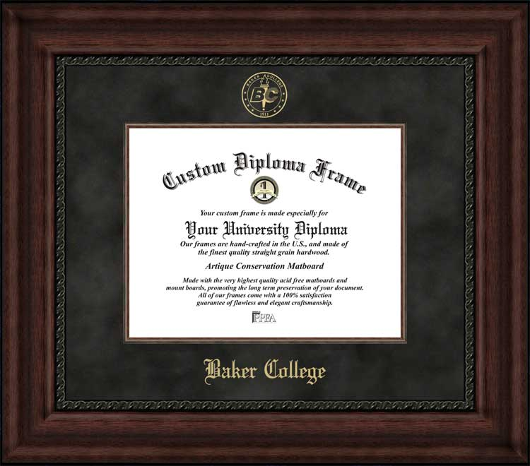 College - Baker College  - Embossed Seal - Suede Mat - Mahogany - Diploma Frame