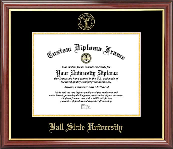 College - Ball State University Cardinals - Embossed Seal - Mahogany Gold Trim - Diploma Frame