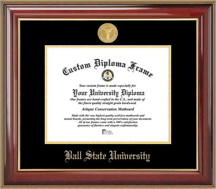 College - Ball State University Cardinals - Gold Medallion - Mahogany Gold Trim - Diploma Frame