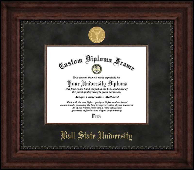 College - Ball State University Cardinals - Gold Medallion - Suede Mat - Mahogany - Diploma Frame