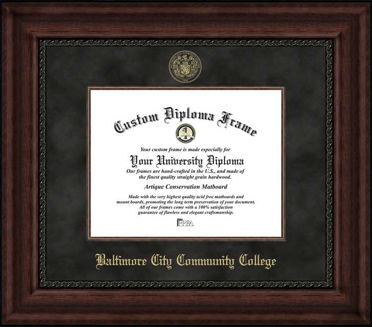 College - Baltimore City Community College  - Embossed Seal - Suede Mat - Mahogany - Diploma Frame