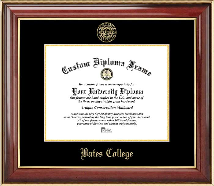 College - Bates College Bobcats - Embossed Seal - Mahogany Gold Trim - Diploma Frame