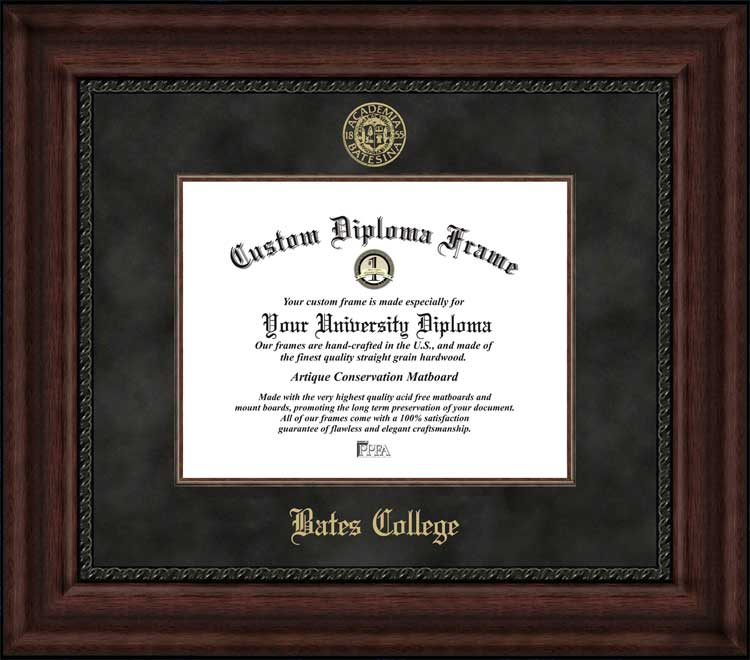 College - Bates College Bobcats - Embossed Seal - Suede Mat - Mahogany - Diploma Frame