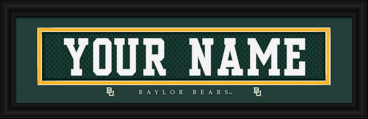 College - Baylor Bears - Personalized Jersey Nameplate - Framed Picture