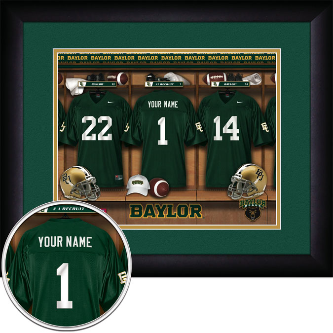 College - Baylor Bears - Personalized Locker Room - Framed Picture