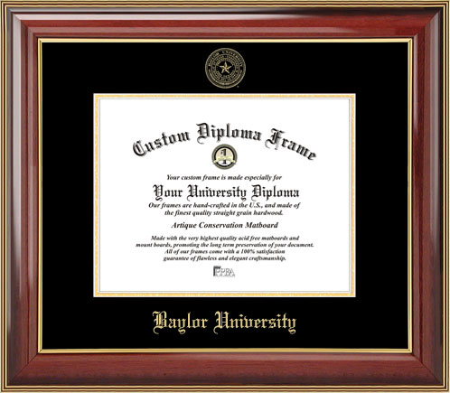 College - Baylor University Bears - Embossed Seal - Mahogany Gold Trim - Diploma Frame