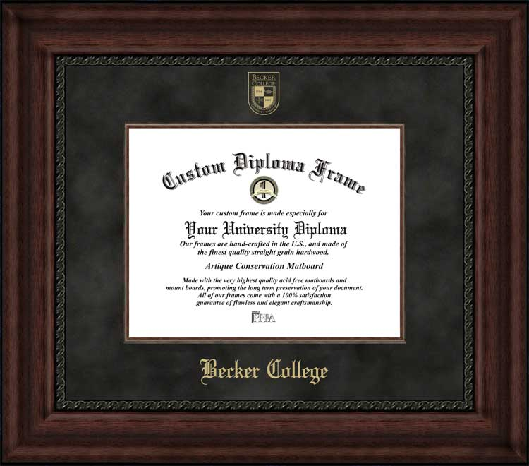 College - Becker College Hawks - Embossed Seal - Suede Mat - Mahogany - Diploma Frame