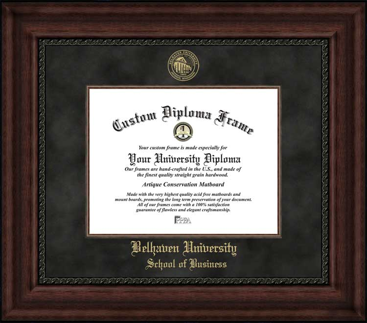 College - Belhaven University School of Business Blazers - Embossed Seal - Suede Mat - Mahogany - Diploma Frame