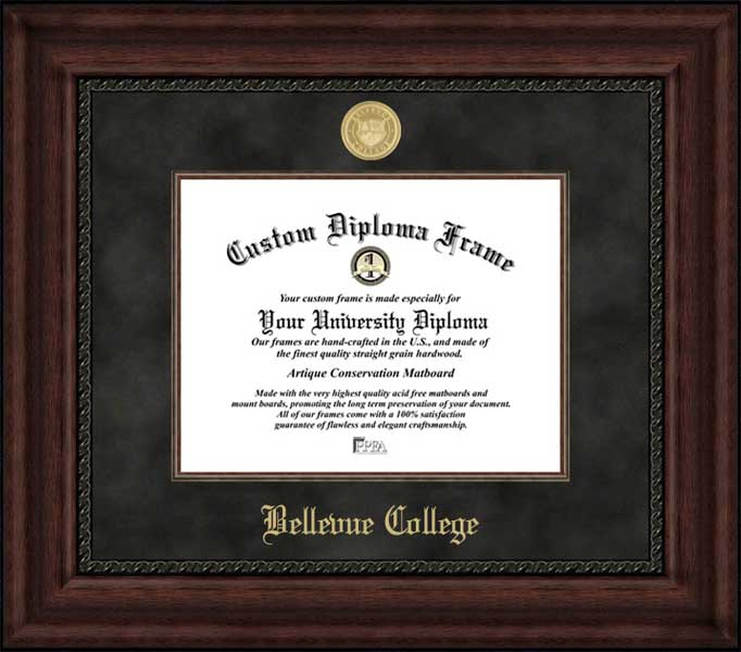 College - Bellevue College Bulldogs - Gold Medallion - Suede Mat - Mahogany - Diploma Frame