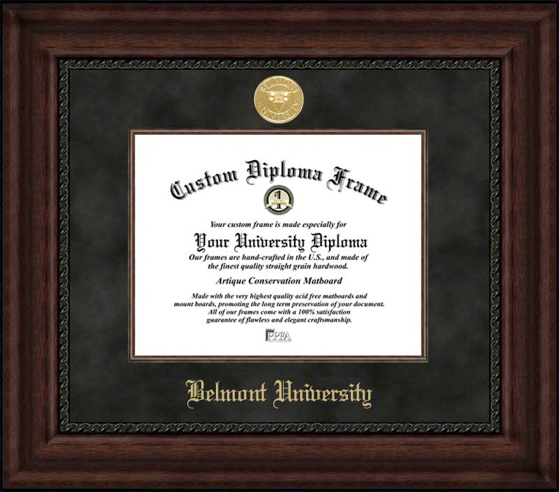 College - Belmont University Bruins - Gold Medallion - Suede Mat - Mahogany - Diploma Frame