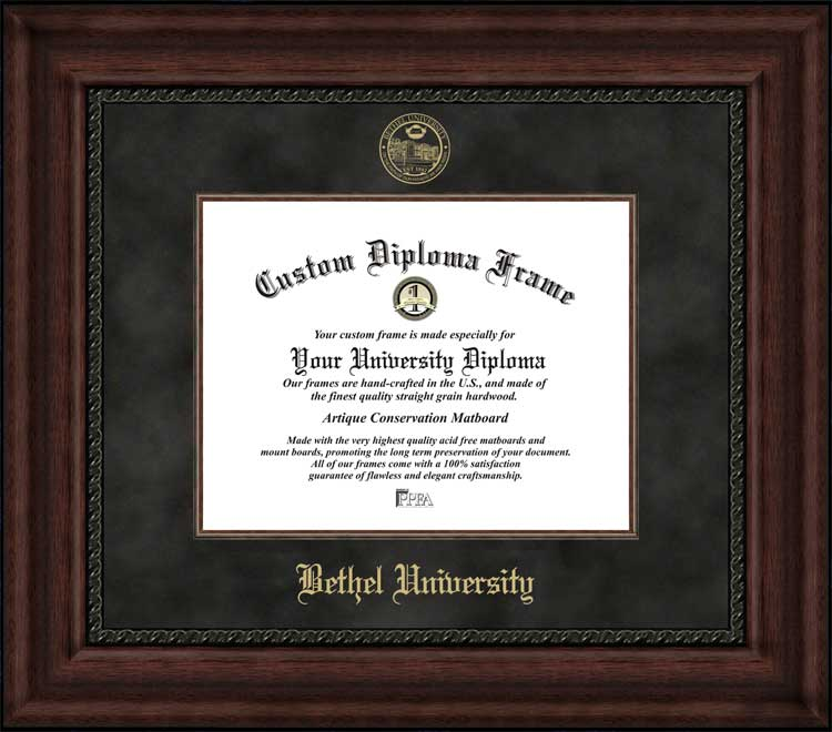 College - Bethel University (TN) Wildcats - Embossed Seal - Suede Mat - Mahogany - Diploma Frame
