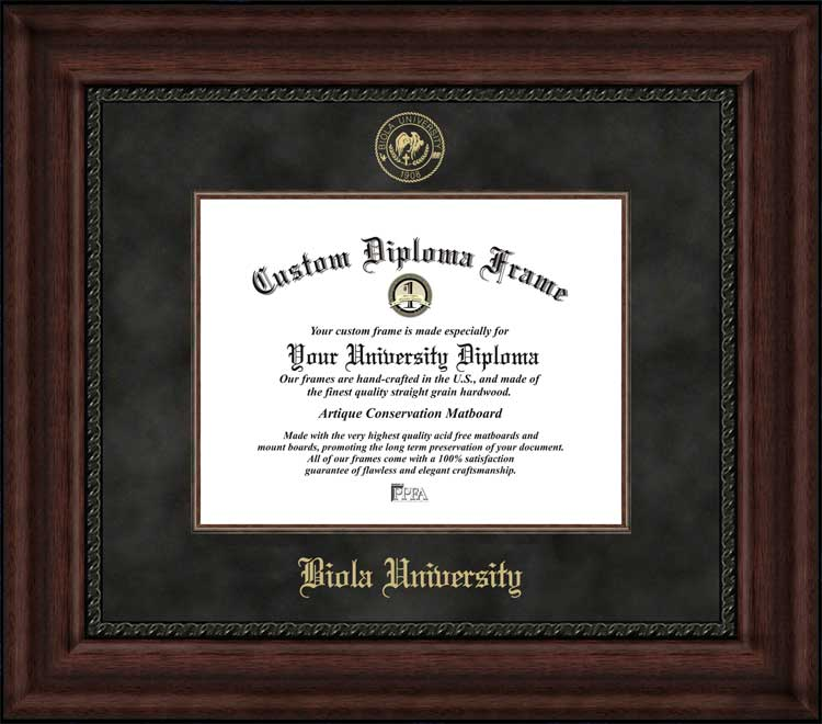 College - Biola University Eagles - Embossed Seal - Suede Mat - Mahogany - Diploma Frame