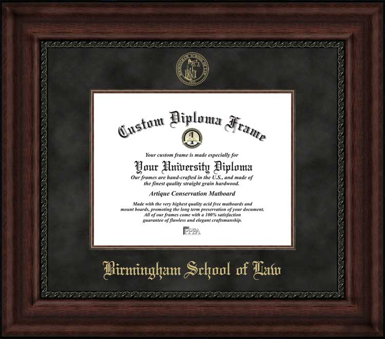 College - Birmingham School of Law  - Embossed Seal - Suede Mat - Mahogany - Diploma Frame