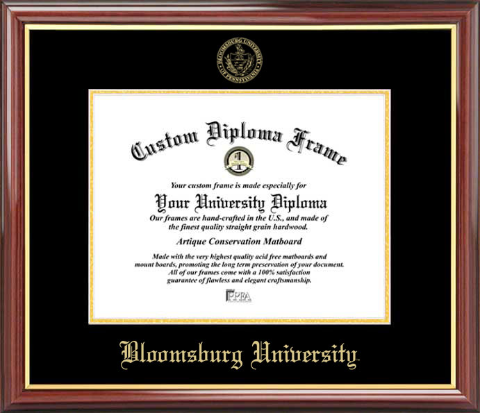 College - Bloomsburg University Huskies - Embossed Seal - Mahogany Gold Trim - Diploma Frame