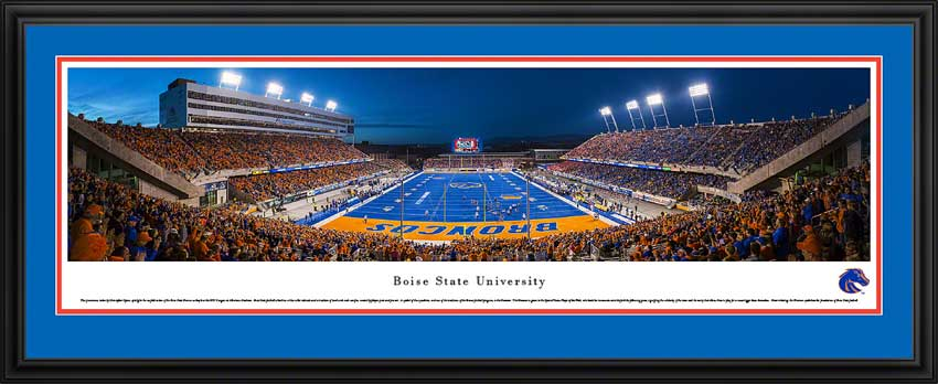College - Boise State Broncos - Albertsons Stadium - Dusk 2014 - Framed Picture