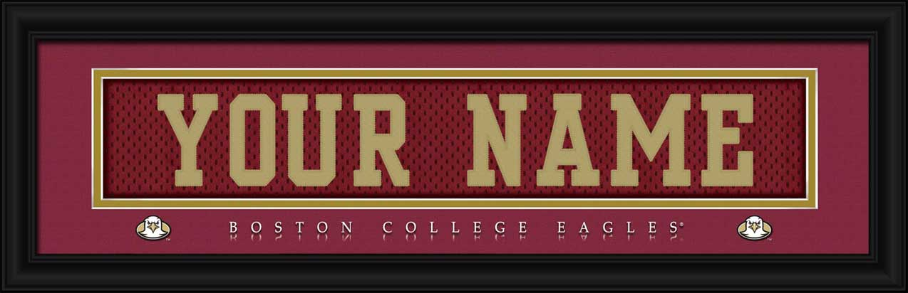 College - Boston Eagles - Personalized Jersey Nameplate - Framed Picture