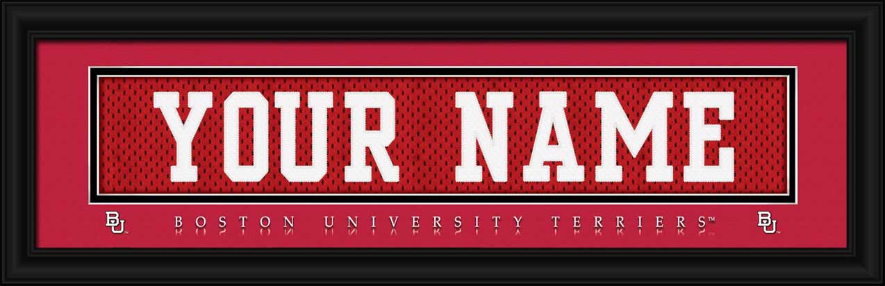 College - Boston Terriers - Personalized Jersey Nameplate - Framed Picture