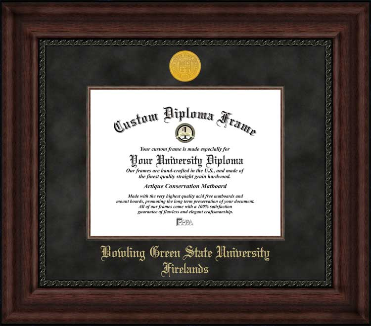 College - Bowling Green State University Firelands  - Gold Medallion - Suede Mat - Mahogany - Diploma Frame