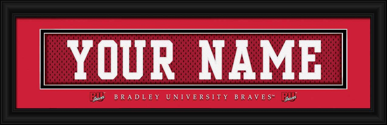 College - Bradley Braves - Personalized Jersey Nameplate - Framed Picture