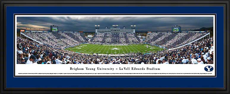 College - Brigham Young Cougars - LaVell Edwards Stadium Striped - Framed Picture