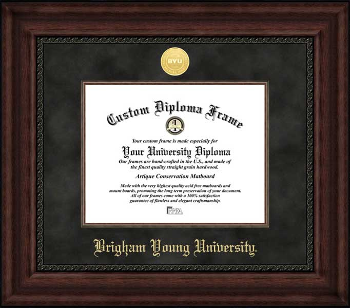 College - Brigham Young University (ID) Vikings - Gold Medallion - Suede Mat - Mahogany - Diploma Frame