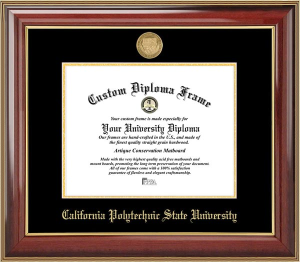 College - Cal Poly State University - San Luis Obispo Mustangs - Gold Medallion - Mahogany Gold Trim - Diploma Frame
