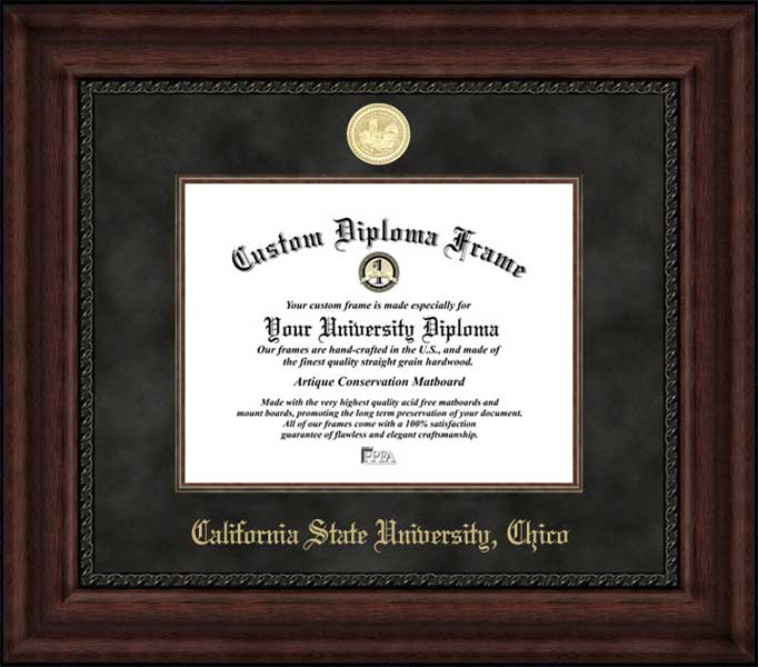 College - California State University Chico Wildcats - Gold Medallion - Suede Mat - Mahogany - Diploma Frame