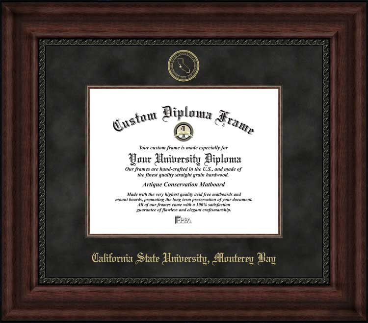 College - California State University Monterey Bay Otters - Embossed Seal - Suede Mat - Mahogany - Diploma Frame