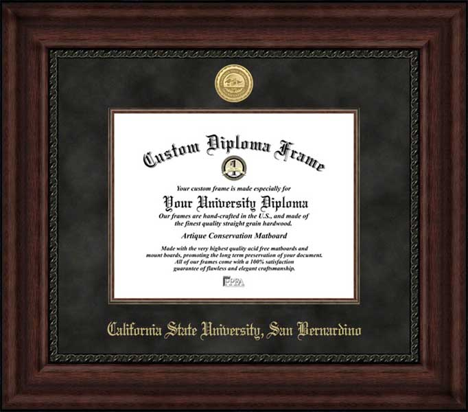 College - California State University San Bernardino Coyotes - Gold Medallion - Suede Mat - Mahogany - Diploma Frame