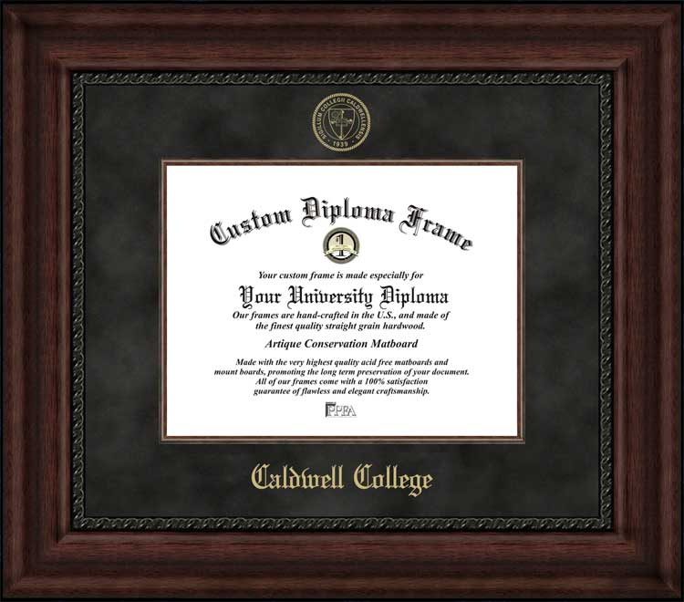 College - Caldwell College Cougars - Embossed Seal - Suede Mat - Mahogany - Diploma Frame