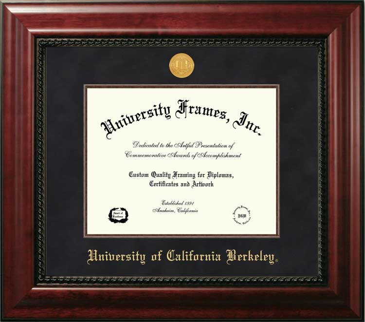 College - University of California Berkeley Golden Bears - Gold Medallion - Suede Mat - Mahogany - Diploma Frame