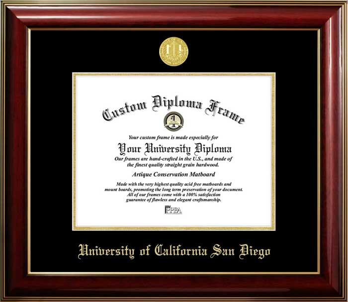 College - University of California San Diego Tritons - Gold Medallion - Mahogany Gold Trim - Diploma Frame