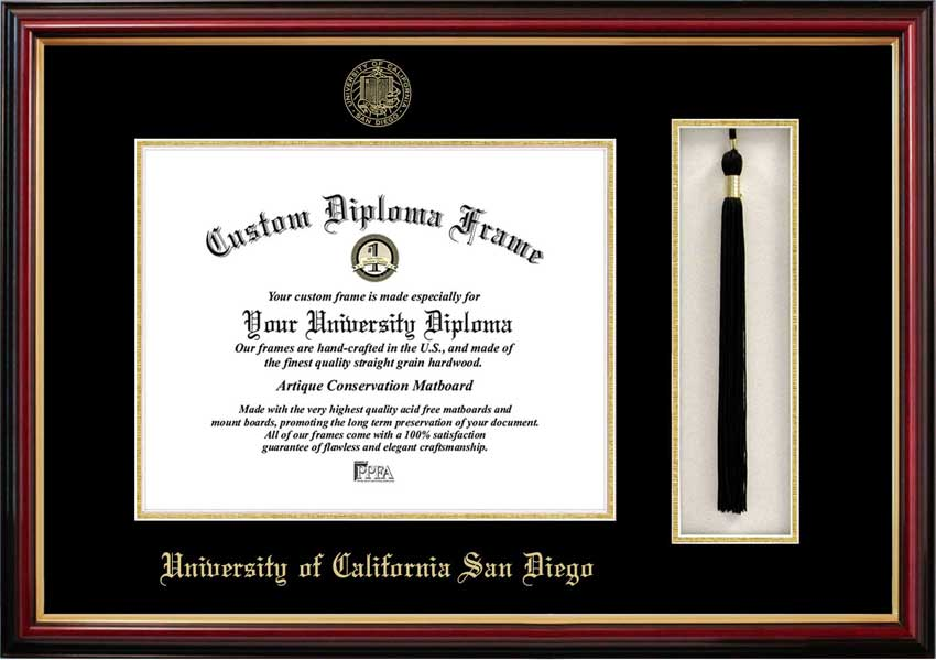 College - University of California San Diego Tritons - Embossed Seal - Tassel Box - Mahogany - Diploma Frame