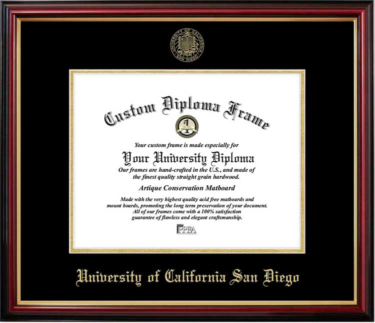 College - University of California San Diego Tritons - Embossed Seal - Mahogany Gold Trim - Diploma Frame
