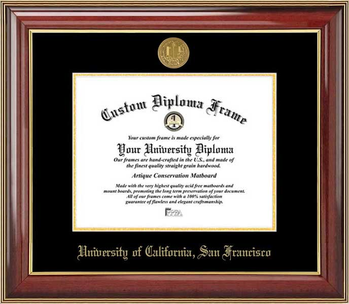 College - University of California San Francisco Bears - Gold Medallion - Mahogany Gold Trim - Diploma Frame
