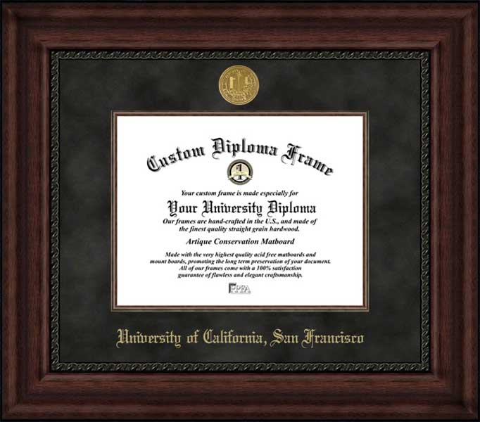 College - University of California San Francisco Bears - Gold Medallion - Suede Mat - Mahogany - Diploma Frame