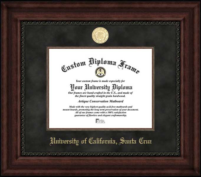 College - University of California Santa Cruz Banana Slugs - Gold Medallion - Suede Mat - Mahogany - Diploma Frame