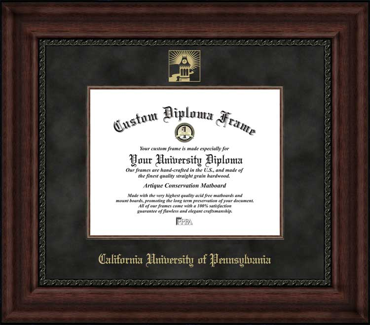 College - California University of Pennsylvania Vulcans - Embossed Logo - Suede Mat - Mahogany - Diploma Frame