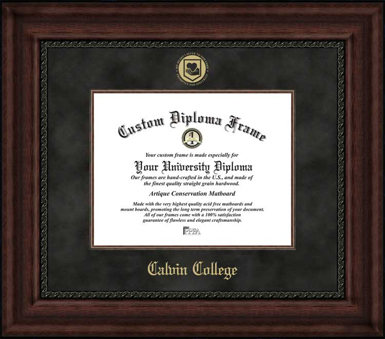 College - Calvin College Knights - Embossed Seal - Suede Mat - Mahogany - Diploma Frame