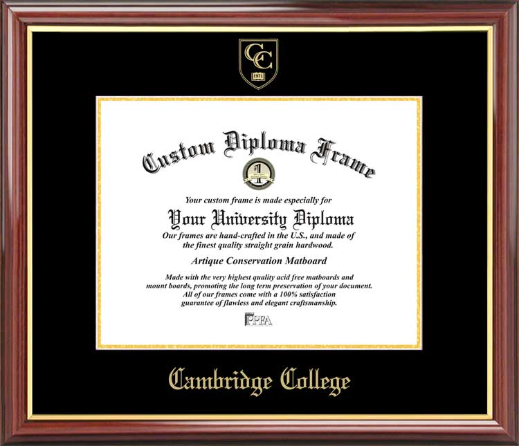 College - Cambridge College  - Embossed Seal - Mahogany Gold Trim - Diploma Frame