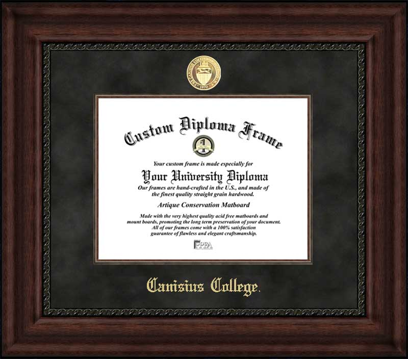 College - Canisius College Golden Griffins - Gold Medallion - Suede Mat - Mahogany - Diploma Frame