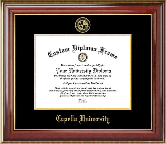 College - Capella University  - Embossed Seal - Mahogany Gold Trim - Diploma Frame