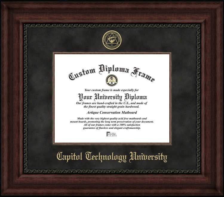 College - Capitol Technology University  - Embossed Seal - Suede Mat - Mahogany - Diploma Frame